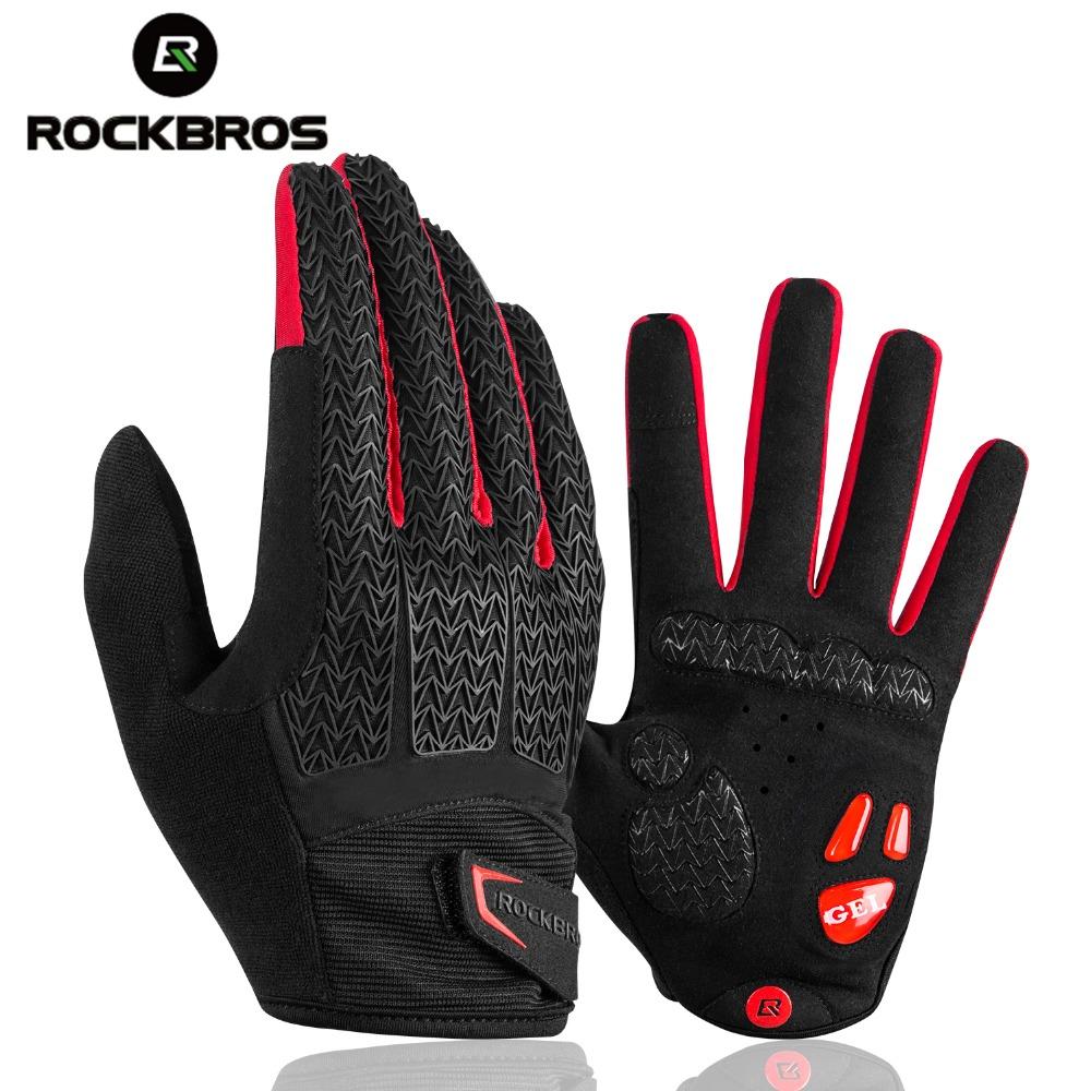 Велосипедные перчатки ROCKBROS, ветрозащитные митенки с пальцами, с гелевыми вставками, для работы с сенсорным экраном, ударопрочные, для горных велосипедов, на осень-зиму