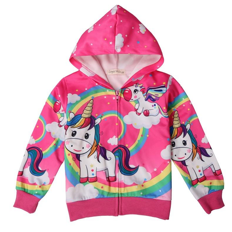 Enfants Dessin Animé Licorne Veste Filles Printemps Mince Manteau D Impression à Capuche Motif Mignon Outwear Pour Enfants 2019