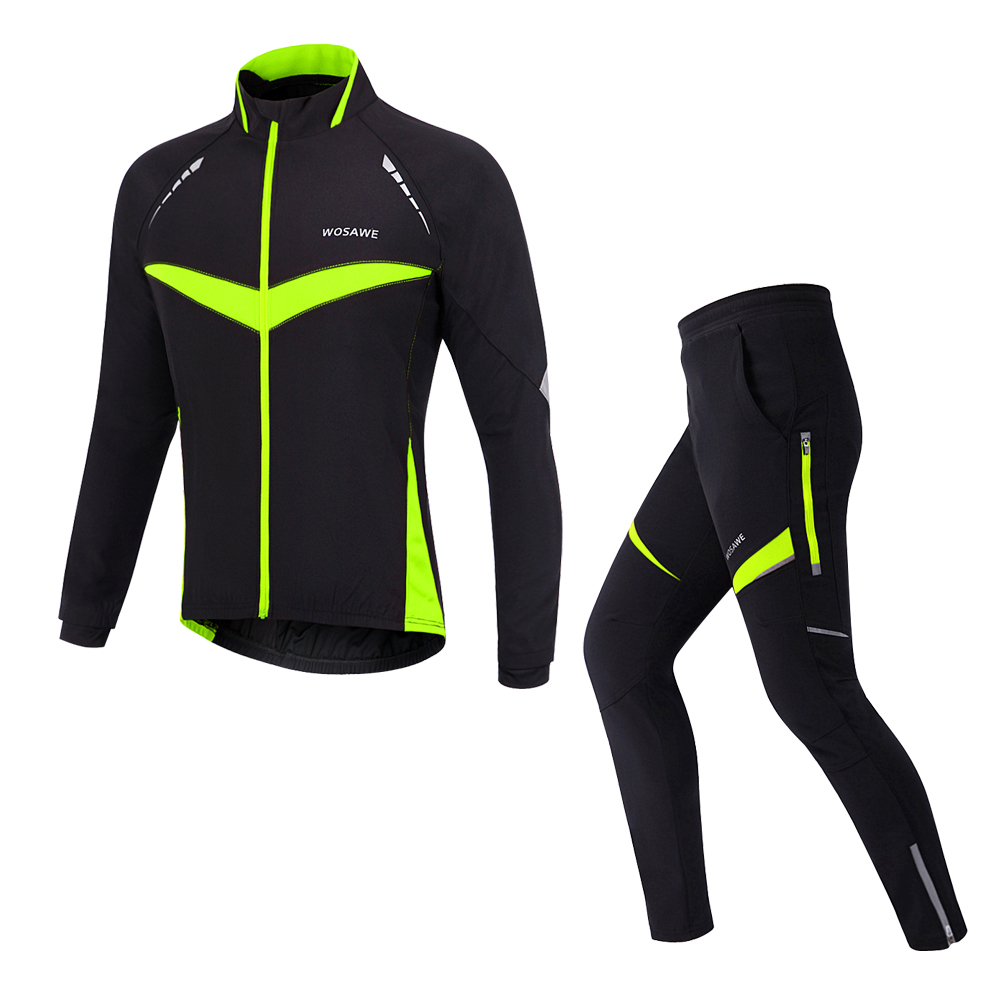 Winter Mens Cycling Sets Windproof Thermal Fleece Jacket Pants Bike Clothings
