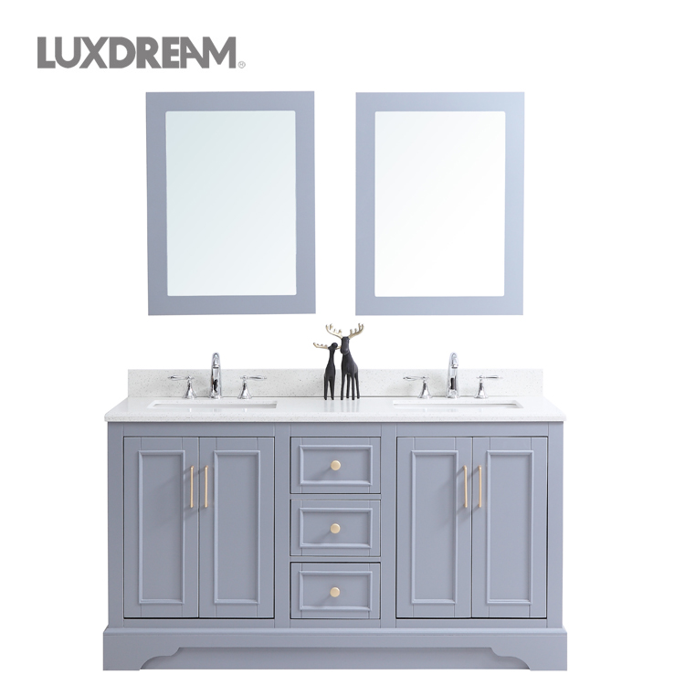 Luxury Light Grey Bathroom Vanity Cabinet With Double Sinks Buy Luxury Bathroom Vanity Light Grey Bathroom Vanity Double Sink Bathroom Vanity Product On Alibaba Com