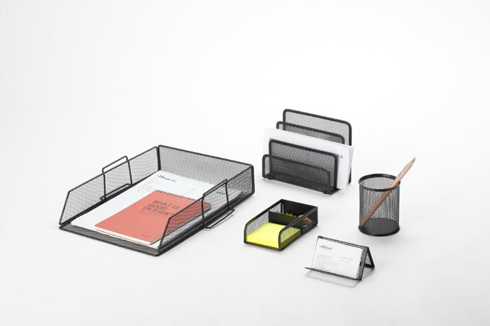 Best-Selling Metal Mesh 5pcs Office Stationery Desk Set Organizer