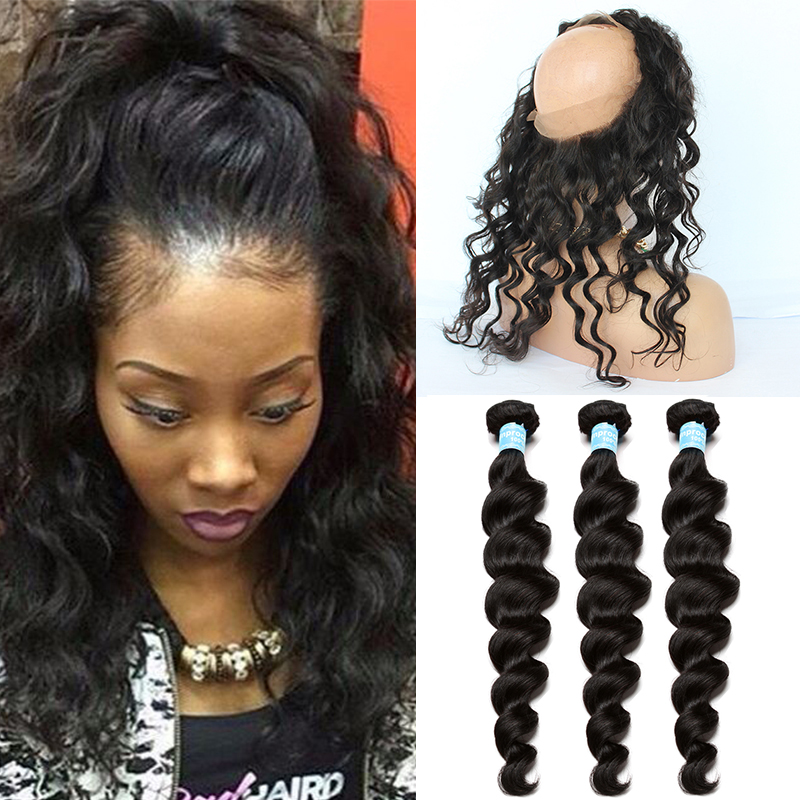 360 Lace Frontal Closure With Bundles Pre Plucked Lace