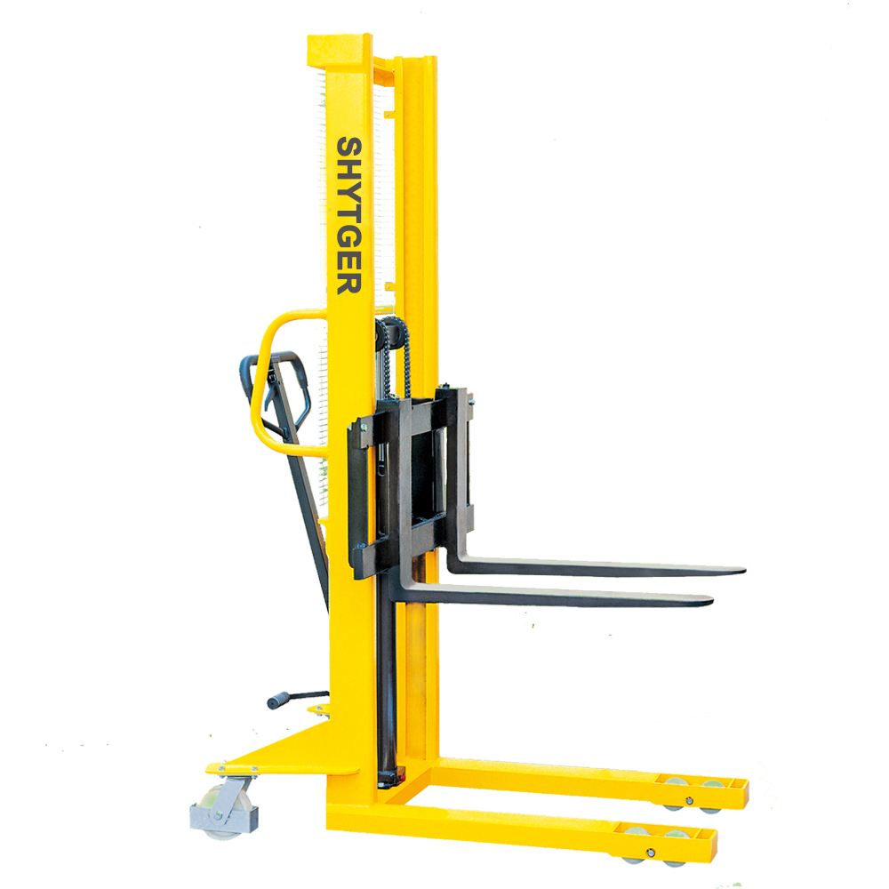 China Brand New pallet stacker crane 1 Ton Hydraulic Manual Stacker(HST)