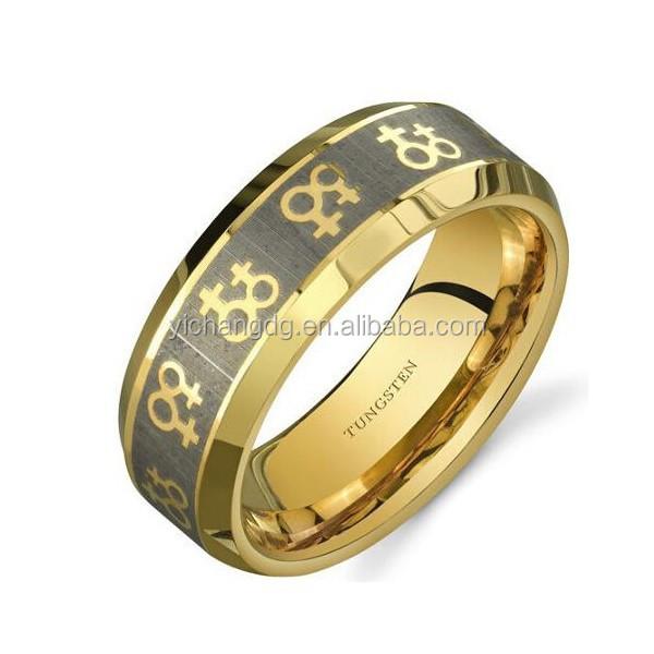 Обручальное кольцо с двойным символом венерины для гомосексуалистов, 8 мм, золотистого цвета, вольфрамовое