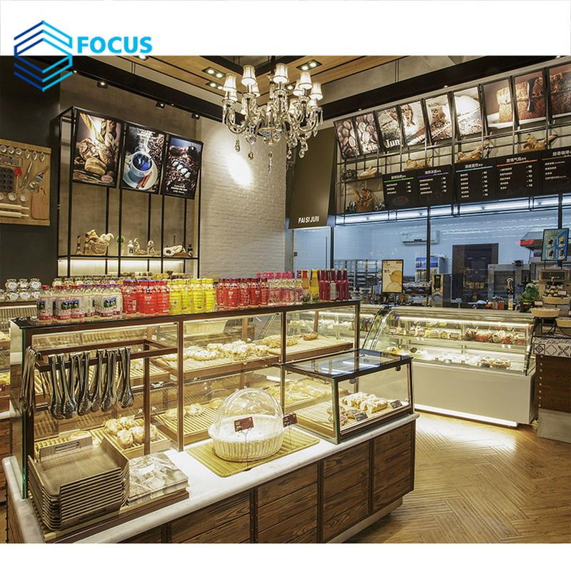 Commercial Food Glass Counter Design Wooden Veneer Decoration Cafe Shop Counter