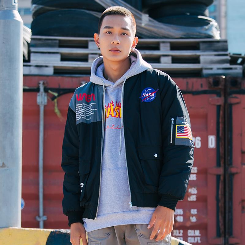 Wholesale NASA baseball style hip hop bomber quilted jacket custom