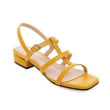 Женские сандалии на низком квадратном каблуке MORAZORA, однотонные туфли на низком квадратном каблуке для вечеринки и свадьбы, лето 2019(Китай)