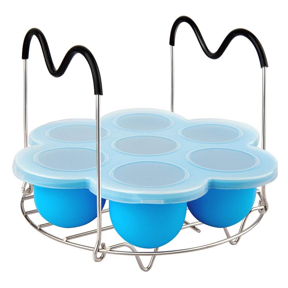 Силиконовые формы для укусов яиц и стойка для пароварки с ручками, контейнер для хранения в плите и поднос для морозильной камеры с крышкой