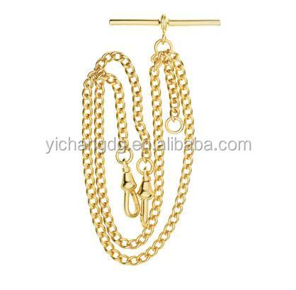 Золотая двойная альбертная цепочка для карманных часов, золотая цепочка для карманных часов
