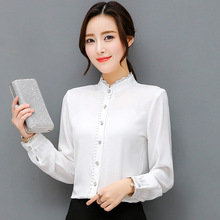 73d5ea5ac9aa4 LooManca Plus Size 4XL shirt women OL formal blusa lace side stand collar  white