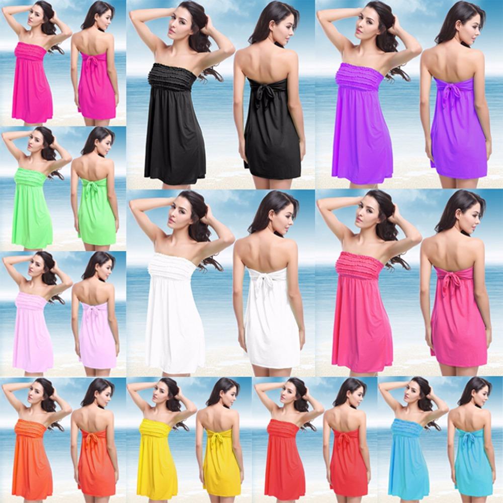 Лето женщины купальники 11 конфеты цвет off-плечи гофрированный грудь дизайн крышка вверх пляж платье для женщины
