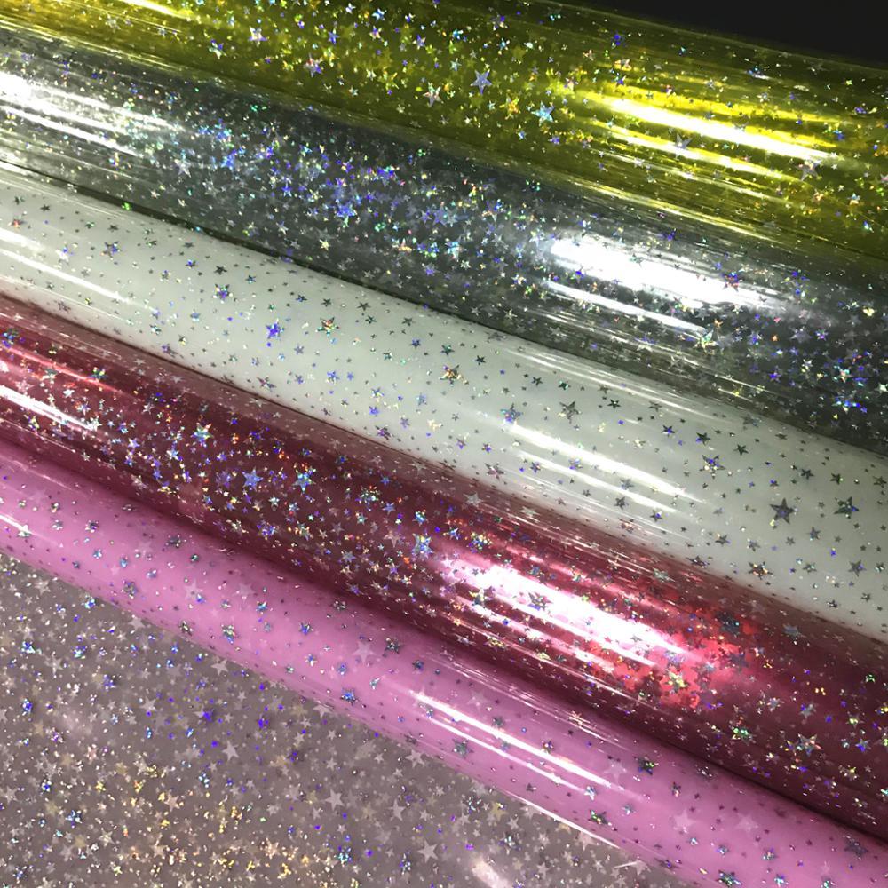 transparent vinyl fabric with shiny star design for decoration