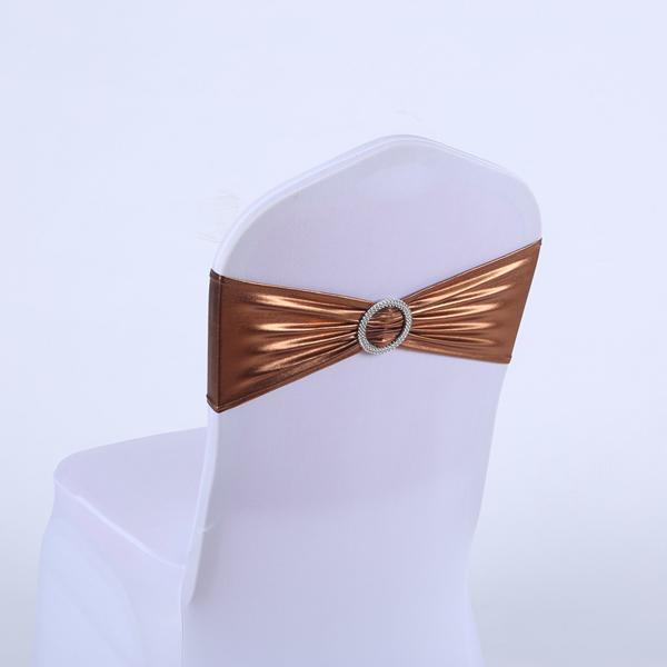 Свадебные бронзовые стрейч золотые спандексовые металлические чехлы для стульев YRYIE лента с пряжкой ползунок украшения с бантом