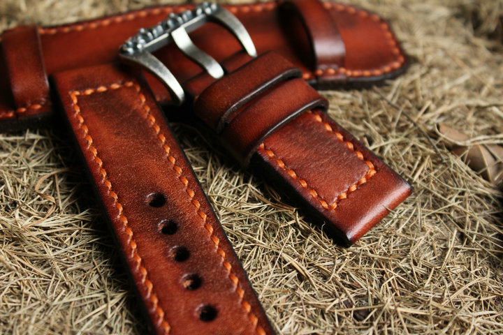 Hand Sewn Tanned Leather Watch Band20/22/24/26mm Genuine Leather Watch Strap Kzfashions 20/22/24/26mm Fashion Leisure CN;GUA