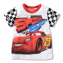 Детская футболка с короткими рукавами для девочек и мальчиков, летняя хлопковая Футболка с принтом машин и Микки Мауса(Китай)