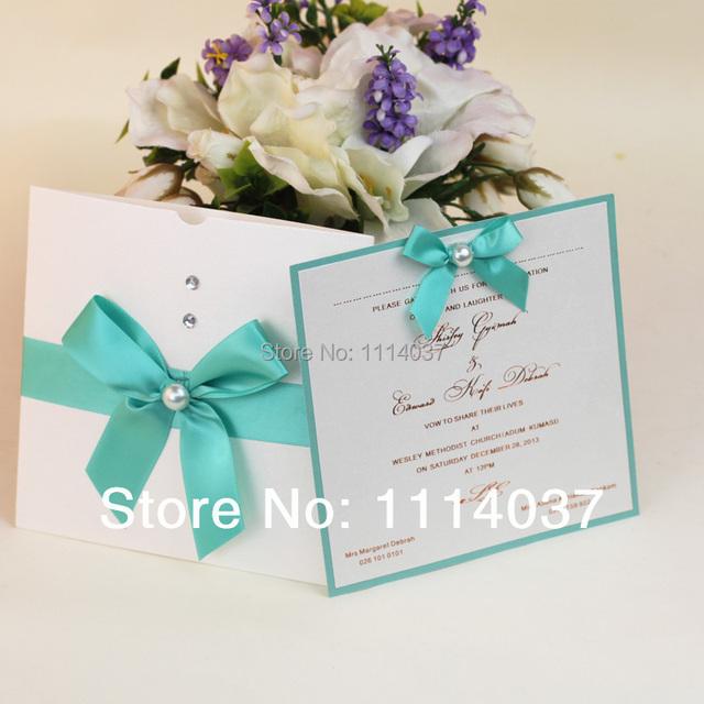 Customized Royal Blue Ribbon Embellished 2014 Wedding