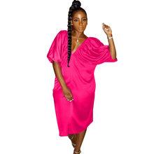 Сексуальное блестящее вечернее платье с v-образным вырезом для ночного клуба, женское свободное платье до колена с рукавом «летучая мышь» и ...(Китай)