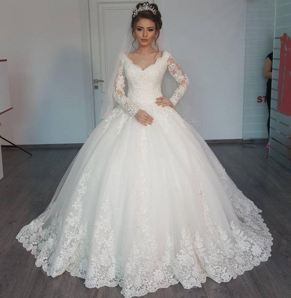 Cheap Wedding Dresses 2017 Lace Wedding Gowns Princess: Lace Long Sleeve Muslim Wedding Dresses 2017 New V Neck