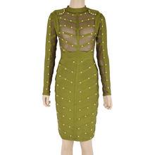 Женское вечернее платье-повязка знаменитости, облегающее Сетчатое платье до колена с длинным рукавом и бусинами, зима 2019(Китай)