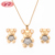 China Factory Direct Wholesale 18K Gold Plated Zircon Bear Necklace Jewelries Set