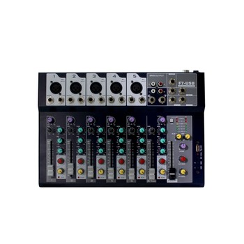 7 channel mini new professional stereo audio mixer consol with usb and good price F7-USB