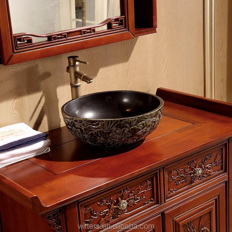Wts 828syo contemporain asiatique style salle de bains asiatique salle de bains avec oriental for Meuble oriental