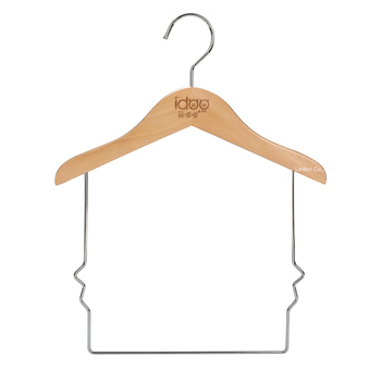 Custom LOGO Kids Hangers Long Bottom Wire Solid Natural Wooden Baby Cloth Hangers