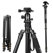 ZOMEi Lightweight Q666 Camera Aluminium Tripod Monopod PTZ Portable Travel Triangle Bracket SLR with Ball Head Pocket