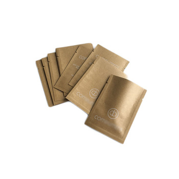 Eco Friendly Brown Yellow White Kraft Paper Bags Aluminum Foil Mylar Printing Empty Tea Bags Powder Sample Drip Coffee Pouches