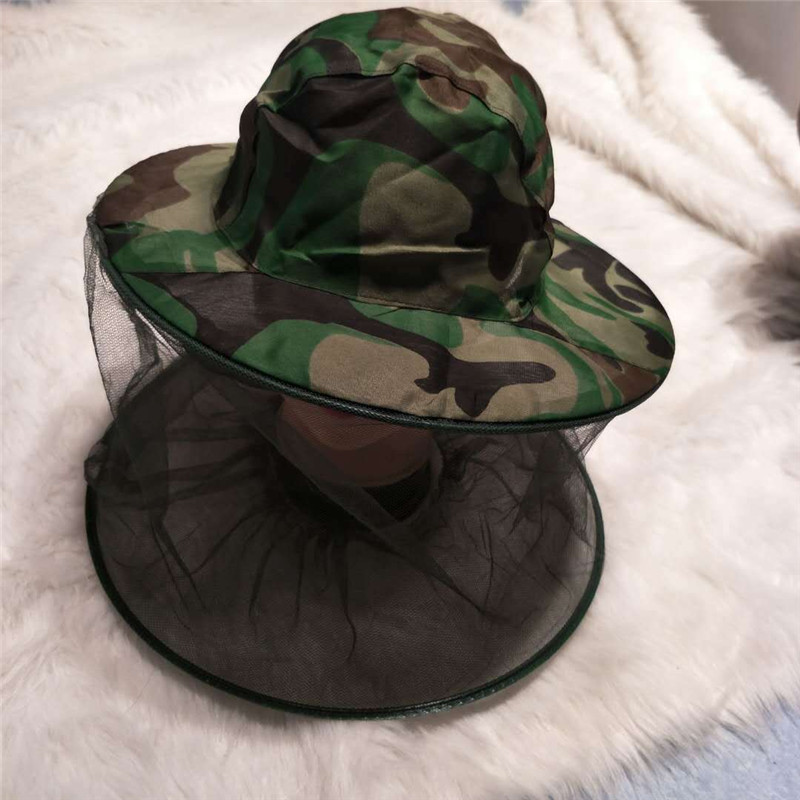 CUHAKCI Camouflage Fishing Hat Mesh Face Camo Print Outdoor Survival Anti Mosquito Camping Men Hiking Outdoor Hats
