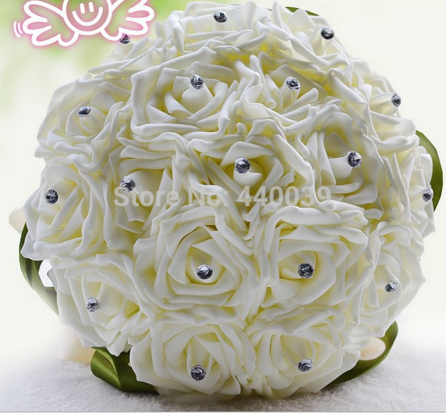 Acheter Gros Magnifique Or Broches Bouquet De Mariee En Soie Roses