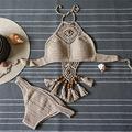 2016 Vintage Tassel Crochet Bikini Set Summer Style Boho Swimwear Women Halter Brazilian Bathing Suit Vintage