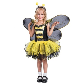 Wholesale RTS cute lovely child bumble bee costume for cosplay carnival birthday paty 3 items a set dress wings headband