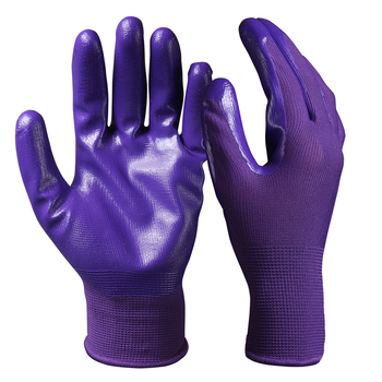 Tear Resistant Purple Palm String Knit Liner Nitrile Coated Gloves for Aeronautics