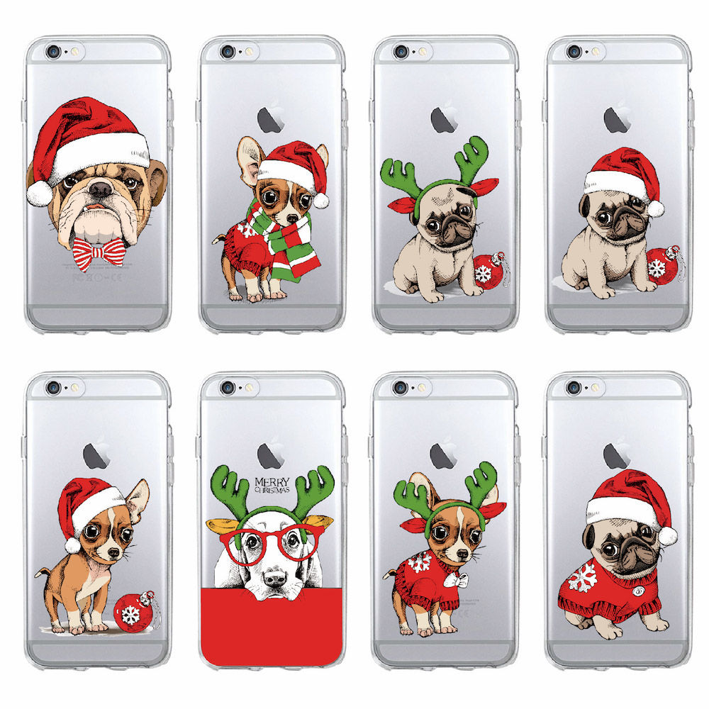 Puppy Pug Christmas Hat Santa Fashion Soft Tpu Printed Phone Case For Iphone 12 Mini 11 Pro 7 7plus 6 6s Xs Max Phone Cover - Buy Christmas Puppy ...