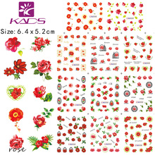 BLE2028 2038 pink red beautiful flowers butterfly chains nail polish sticker Women Nail Sticker For free