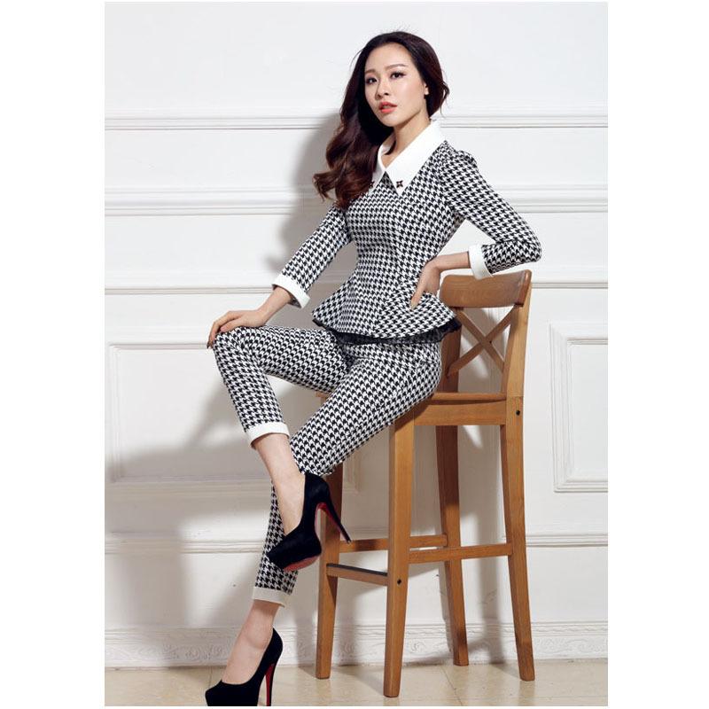 Женщины деловые костюмы с брюками новые 2015 мода весна лето плед ломаную клетку с отложным воротником пр дамы тонкий брючный костюм
