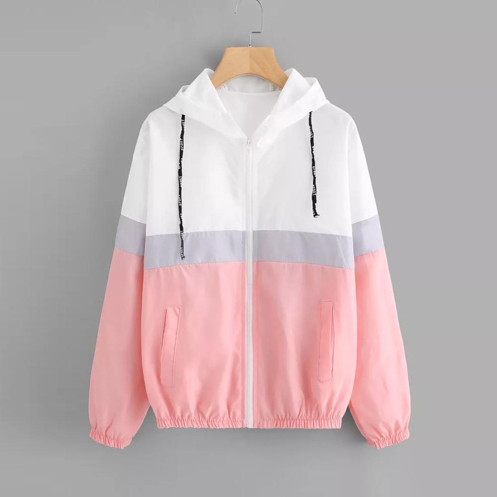 Basic Jackets Jackets For Women Long Sleeve Patchwork Thin Skinsuits Hooded Zipper Pockets Sport Coat Autumn Jacket Women Chaqueta Mujer A8