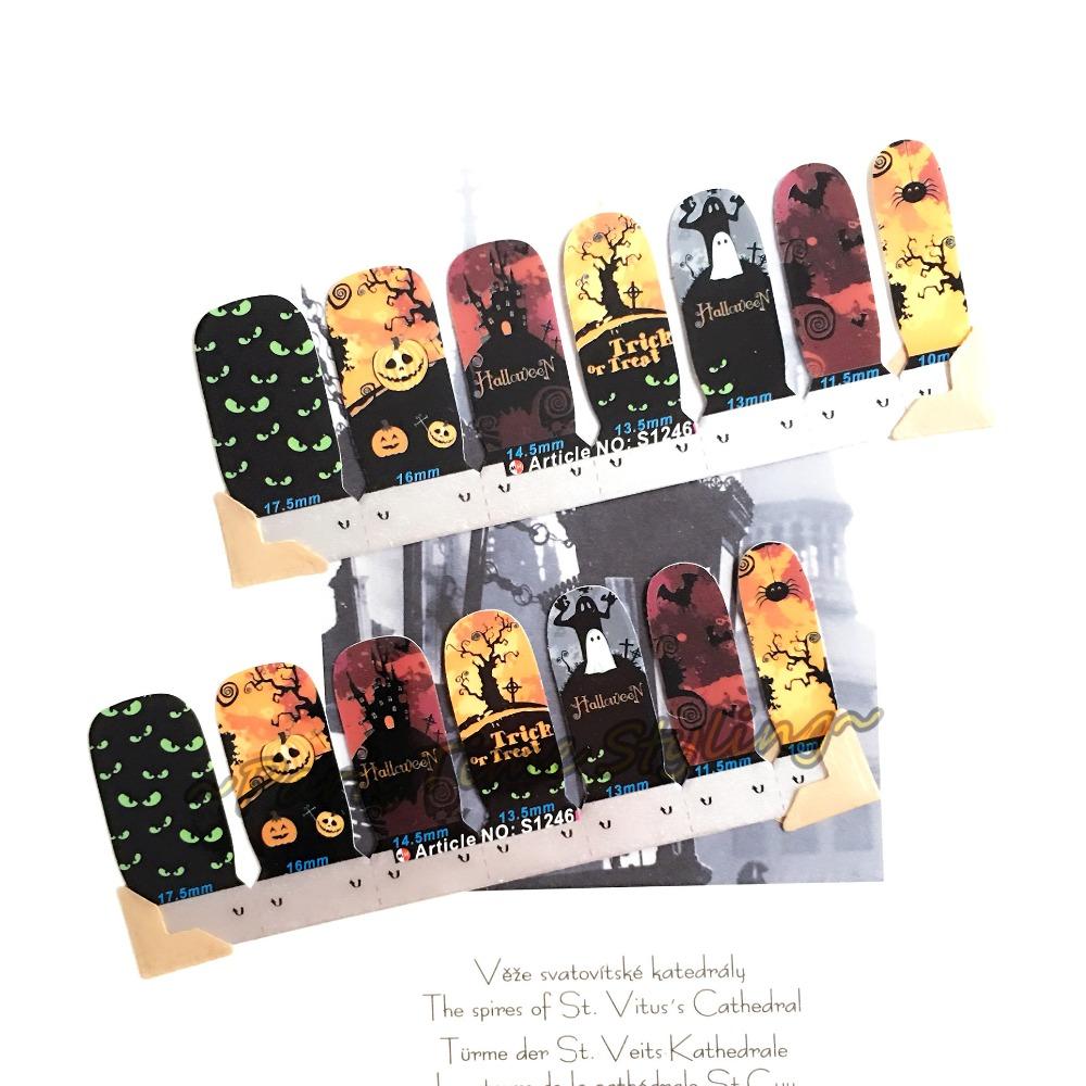 Halloween Pumpkin Nail Art Sticker Patch 14 pcs set Waterproof Decals Foils Gel Polish French Manicure