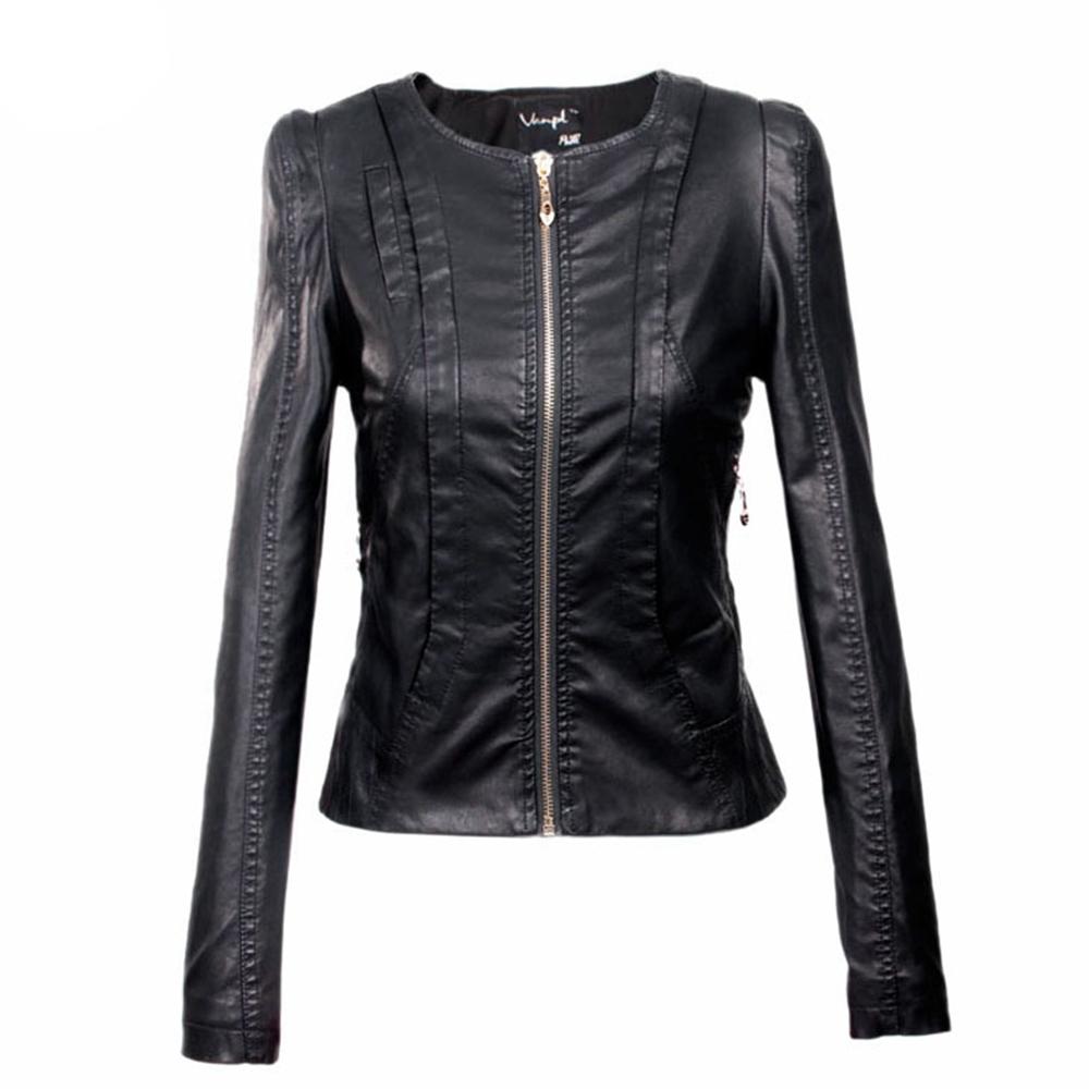 Ladies short leather jacket