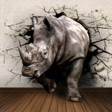 3D реалистичные Настенные обои с животными по индивидуальному заказу с изображением носорога льва, слона, Нетканая ткань, Настенная новинка,...(Китай)