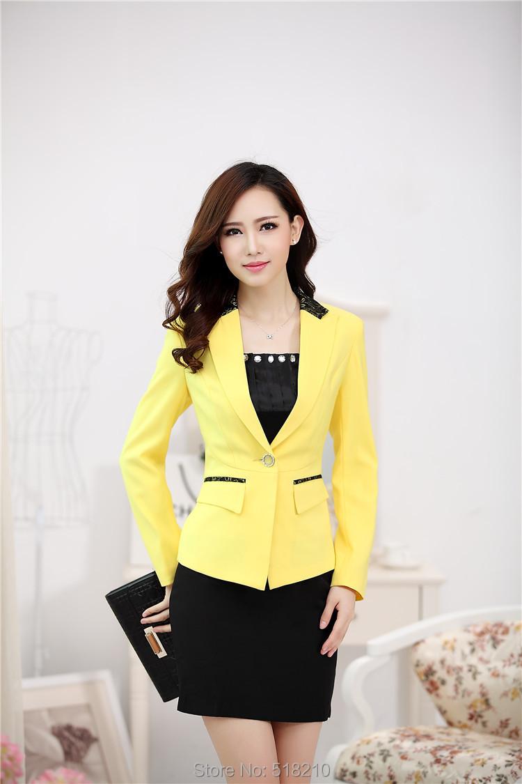969a0e03930 2019 New Elegant Yellow Formal Uniform Design Fall Winter Office ...