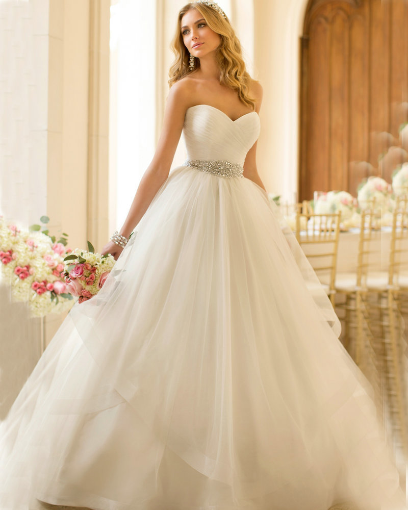 Princess Wedding Dress 2016 Organza Sweetheart Vestidos