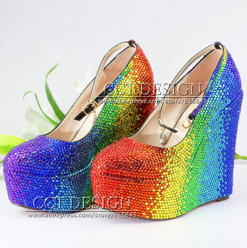 6563a5e4c Colorful Red Yellow Green Blue Rhinestone Wedding Wedges Customized Crystal  High Heels Wedge Pumps Party Prom Shoes Size 11
