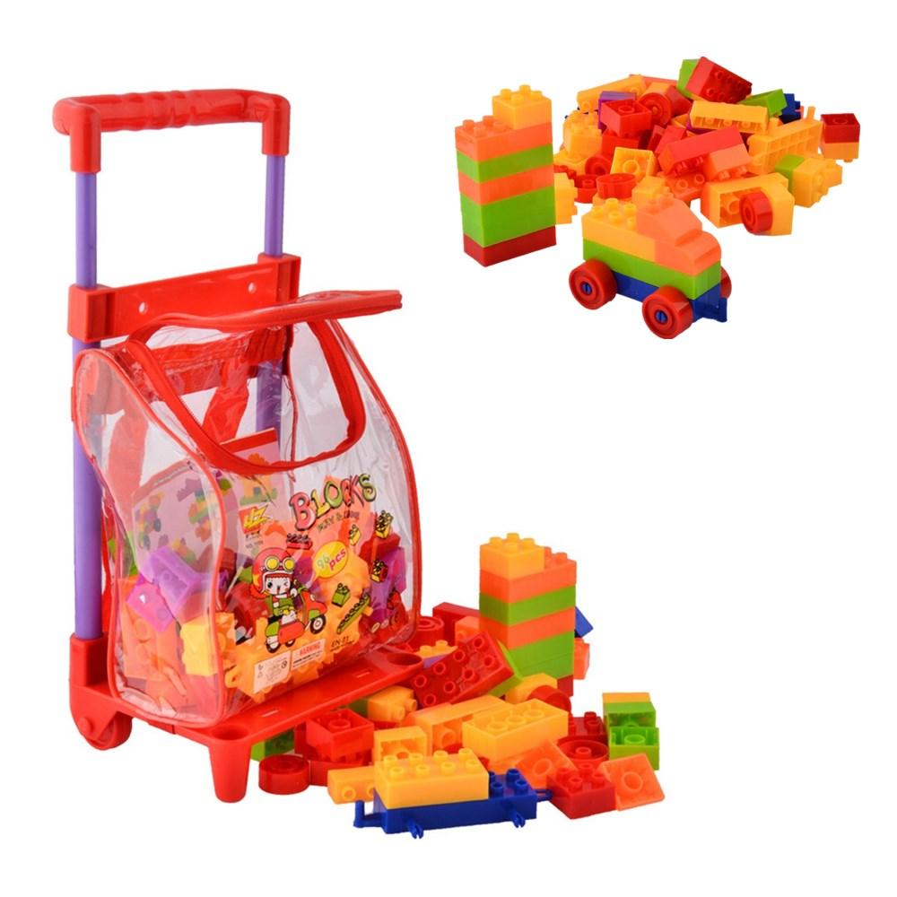 96 Pcs Plastic Building Blocks Kits with Cart Kids Children s Montessori Educational Toys