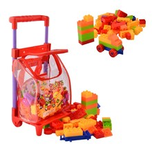 96 Pcs Plastic Building Blocks Kits with Cart Kids Children's Montessori Educational Toys