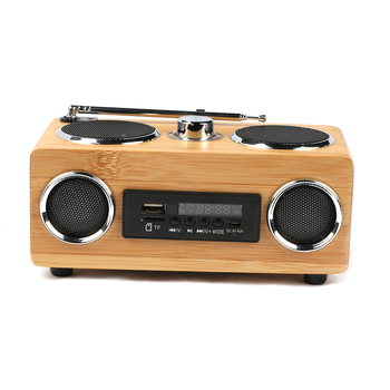 Portable beautiful design bamboo usb SD card wireless usb wireless speaker with fm radio