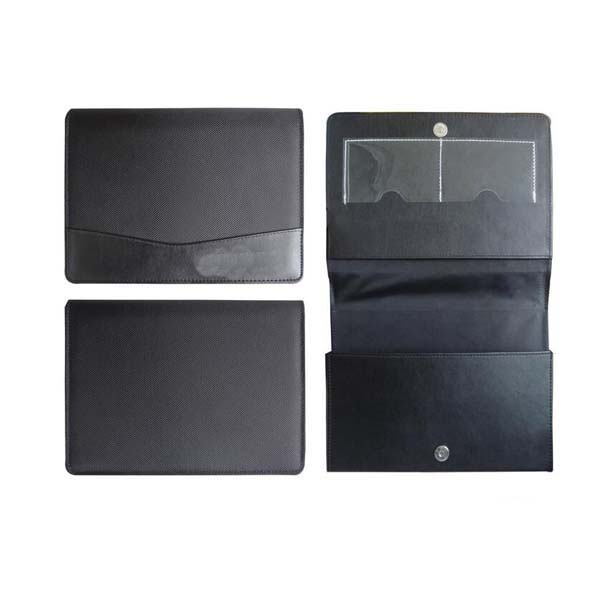 Hot sale custom black PU/PVC leather car document manual holder with stamping logo