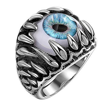 2020 Vintage Cool Stainless Steel Gothic Dragon Claw Devil Eye Men's Ring,New Design Queer Finger Ring For Boys