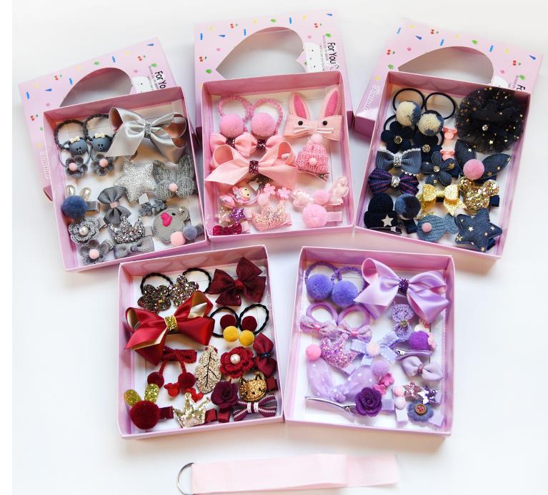 Детские комплекты аксессуаров для волос, милая Подарочная коробка для девочек, кожаная лента, Шпилька для волос